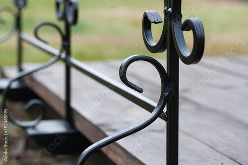 Fotomural Garden bridge with black wrought iron balusters against the background of a gree