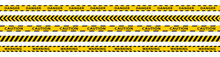 Warning Stripes Set. Danger Tapes. Yellow Stripes Border. Caution Tape. Do Not Cross.