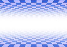奥に行くほど明るくなる青色のチェック模様の空間の背景素材