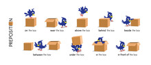 Preposition Of Place Set. Bird And The Box