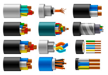 Cable Wire, Electric, Fiber Or Copper Power In Cut