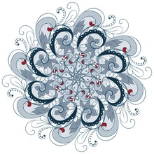 Round Floral Elegant Ornament In Gray Tones