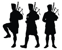 Set Of Scottish Man Bagpipers In Traditional Dress Silhouette Vector On White Background