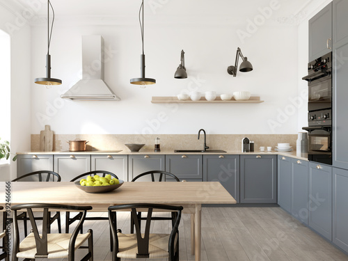 3d rendering of a beige and grey Scandinavian style kitchen with beige marble and a wooden table with black chairs.