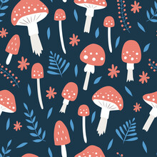 Seamless Pattern With Mushrooms, Leaves And Flowers On A Dark Blue Background. Fly Agaric Seamless Pattern. Vector Illustration. For Wallpaper, Textiles, Fabric, Paper.