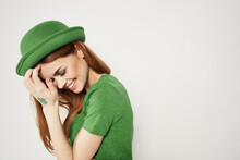 Happy Woman In Green Clothes In St Patricks Day Shamrock Hat Makeup Model