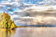 Volga River Colorful Painting,...