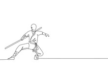 One Continuous Line Drawing Of Young Shaolin Monk Man Practice Kung Fu With Stick At Temple Ground. Traditional Chinese Combative Sport Concept. Dynamic Single Line Draw Design Vector Illustration