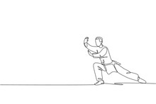 Single Continuous Line Drawing Of Young Man Wushu Fighter, Kung Fu Master In Uniform Training Tai Chi Stance At Dojo Center. Fighting Contest Concept. Trendy One Line Draw Design Vector Illustration
