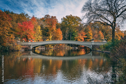 The Bow Bridge with autumn color, in Central Park, Manhattan, New York City