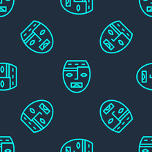 Green Line Mexican Mayan Or Aztec Mask Icon Isolated Seamless Pattern On Blue Background. Vector.