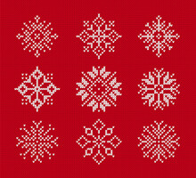 Snowflakes On Knitted Pattern. Vector Illustration. Set Of Christmas Winter Symbols On Red Seamless Background. Sweater Knit Texture.