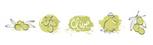 Olives. Watercolor Background In Berries For A Logotype Or Label. Set Vector Design Elements.