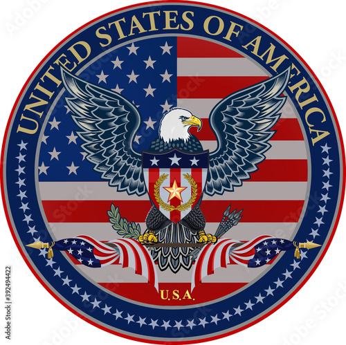 Fototapeta American eagle with USA flags