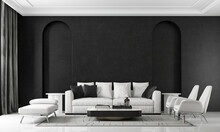 Modern Cozy And Luxury House And Black Living Room Interior Design And Arch Wall Patter Background/3d Render