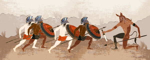 Fototapeta Architektura Ancient Greece banner. Hunting for Minotaur. History and culture. Classical medieval style. Vector illustration