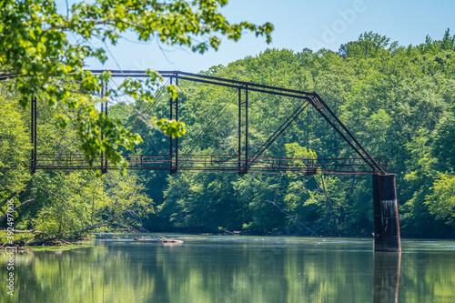 Obraz na plátně Old train trestle at Jones bridge park Georgia