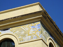 Detail Of Revival Building With Colorful Sgraffito Decoration In The Corner. Sitges. Barcelona. Spain.
