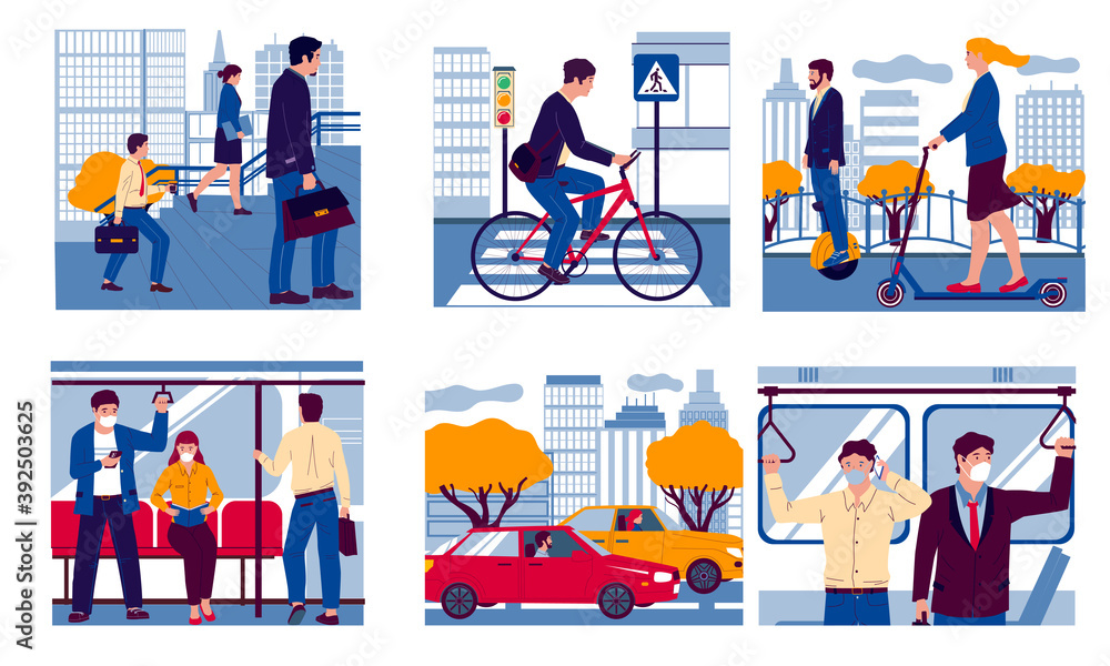Fototapeta People in transport. Realistic men and women moving to work on foot, in bus or underground carriage and driving car, bicycle or scooter. Urban vehicle, vector city transportation scenes flat set