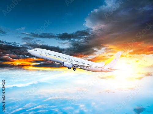 plane took off into the sky, altitude . Airplane in the sky - Passenger Airliner
