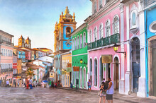 Street In Old Town Colorful Painting, Salvador, Bahia State