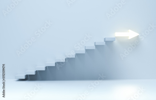 Fototapeta Stairs going upward, ascending stairs of rising staircase to arrow. obraz