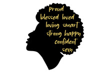 Black Girl Silhouette. African American Woman.  Beautiful Female Profile. Decorated With Hand Written Text.  Vector Clipart