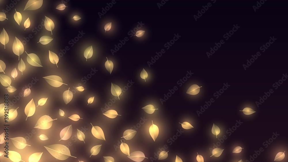 Fototapeta Dark background with glowing golden leaves in the corner
