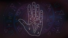 Palm With Palmistry Diagram On The Background Of Space