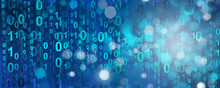 Abstract Blue Digital Binary Data On Computer Screen