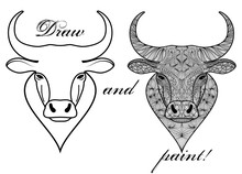 Art Therapy Coloring Page With Patterned Head Of Ox Or Bull Isolated On White. Coloring Book For Adults. Antistress Sketch Drawing. Decoration For Printing On Fabric.