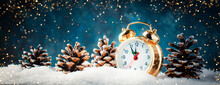 Christmas Or New Year Background With Golden Alarm Clock In Snowdrifts On Blue Background With Holiday Lights Counting Last Moments Before Christmass Countdown To Midnight.