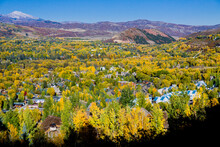 Aspen Colorado West End Aerial - Aspens Just Starting To Turn In Aspen Colorado View Down The Roaring Fork Valley Looking Northwest From Smugglers Mountain Road In Autumn, Pitkin County