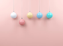 Color Full Chrismas Ball In Pink Background. Minimal Christmas Concept Idea 3d Render.