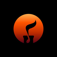 Candlelight Music Logo Concept, Candle With Music Note, Simple Musical Logo Concept