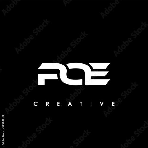 Obraz na plátně POE Letter Initial Logo Design Template Vector Illustration