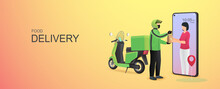 Mobile Online Food Delivery Concept. Delivery Package With Electric Scooter. Online Order Tracking With Online Maps. Vector Illustration