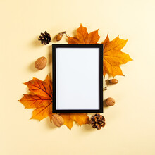 Frame And Autumn Leaves And Be...