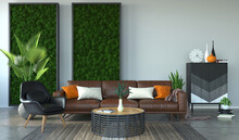 Modern Living Room With Scandinavian Moss On The Wall, 3d Rendering