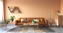 Cozy Living Room With Terracotta Colors, 3d Rendering