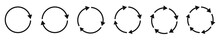 Arrow Icons Set. Circular Arrows. Black Circle Arrow. Vector Illustration.