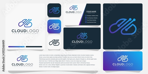 cloud logo with business card template vector design - fototapety na wymiar