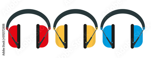 Vector illustration showing a row of ear defenders hung up in a factory with cop Wallpaper Mural