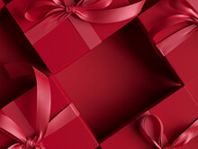 Give Gifts Compliments Concept, Cosmetic Shop Advertising With Red Gift Box. Valentine Day Banner. 3d Rendering.