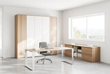 White and wooden CEO office corner with window