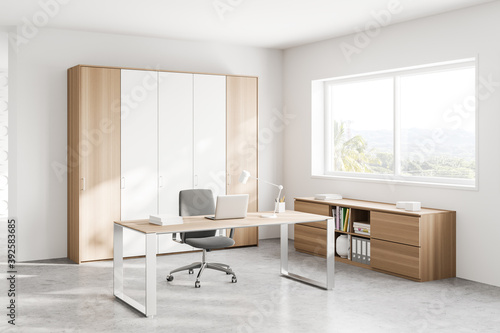 Obraz White and wooden CEO office corner with window - fototapety do salonu