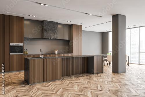 Obraz Wooden kitchen set with parquet floor in modern stylish minimalist apartment - fototapety do salonu
