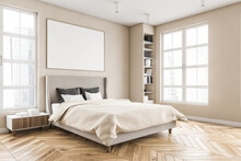 Wooden Bedroom And Canvas Over Bed With Linens, Beige Walls And Window