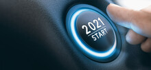 Start-stop Engine Button With A Sign 2021 And A Finger Near It. New Year.