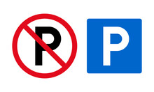 Set Of Parking Signs And Vector Icons. Permitted And Prohibited Sign.